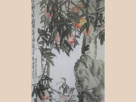 呉昌碩メイン画像-桃実図