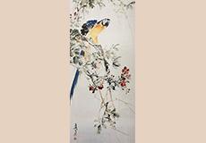 花卉鸚鵡図