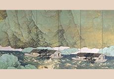 川合玉堂-行く春(右隻)
