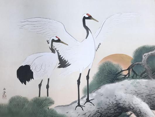 川合玉堂メイン画像-松上双鶴