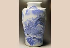 青花山水花瓶