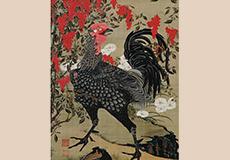 伊藤若冲-南天雄鶏図