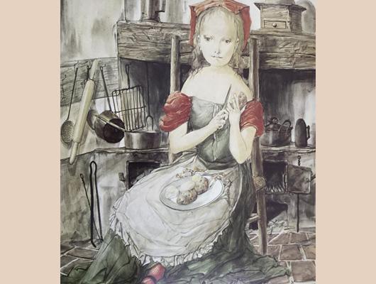 藤田嗣治メイン画像-坐る少女